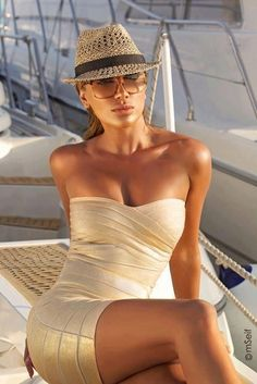 Ah, the XEN-TAN woman aboard a yacht | More outfits like this on the Stylekick app! Download at http://app.stylekick.com