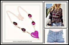 COWGIRL GYPSY NECKLACE Purple Turquoise Heart & African Amethyst  Gemstone Sterling Silver Necklace/ Mixed Patter Floral Top/ Free People Denim Boho Jean Shorts  #purple #neckalce #turquoise #heart #sterlingsilver #silver #amethyst #gemstone #jewelry #handmade #mixedpattern #longsleeve #top #shirt #blouse #bohemian #boho #cowgirl #gypsy #style #fashion #clothing #women #freepeople #jean #denim #shorts #distressed #wholesale #boutique #beautiful #onlineshopping