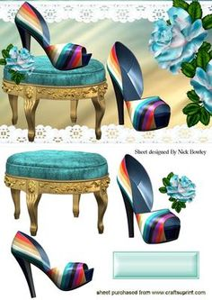 RAINBOW SHOES WITH A STOOL AND ROSES on Craftsuprint - Add To Basket!