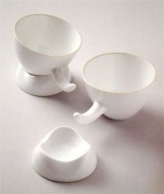 Isamu Noguchi  Tea Cups with Saucers  White porcelain  1950-60