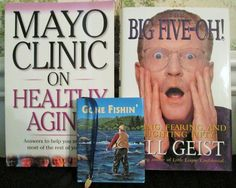 Lot of 3 books Gone Fishing Mayo Clinic On Healthy Aging Big Five Oh Bill Geist