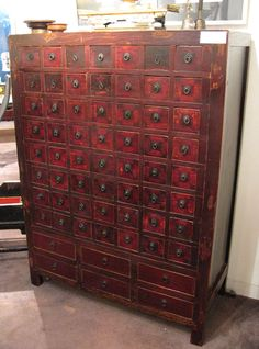 Superbe From The Name Of The Photo This Is A Century Antique Chinese Apothecary  Tall Cabinet With 56 Small Drawers And 6 Large Drawers.