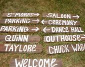 NAME YOUR SIGN rustic 6 Barn wood Wedding Signs w/ Stakes  directional country western. $72.00, via Etsy.