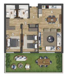 Köy Projesi Apartman Kat Planı 2+1 Bahçeli Daire