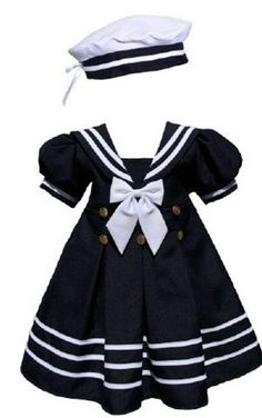 Baby & Girls Navy Sailor Dress. Reminds me of when I was young.