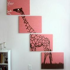 Giraffe Paintings -- love the crooked stacked canvas idea