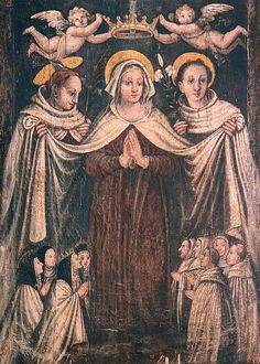 """""""An ancient painting depicting Carmelite nuns and friars sheltering under the mantle of Our Lady of Mount Carmel"""""""