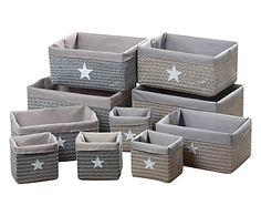 Set de 10 cestas Star - gris y blanco