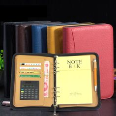 Gerente de espiral de couro PU notebook com zíper e revistas planejador agenda calculadora caneta titular organizador carteira filofax A5 A6 em   de   no AliExpress.com | Alibaba Group
