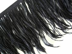 These ostrich feathers are dyed black for a beautifully elegant look.  The fringe feathers are often used in fashion for a luxurious look. These feathers are about 4 to 6 inches and stitched to a thin cording.
