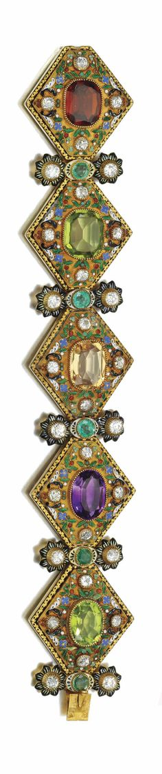 Gem set and diamond Austro-Hungarian bracelet, circa 1860. Each lozenge shaped link set with an oval or cushion-shaped gemstone within a foliate border applied with opaque and translucent enamel, highlighted with circular-cut emeralds and diamonds, length approximately 185mm, partial maker's marks.
