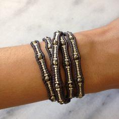 Chan Luu--Pyrite Mix Beaded Wrap Bracelet on Natural Grey Leather Making Bracelets With Beads, Beaded Wrap Bracelets, Bracelet Set, Jewelry Bracelets, Pandora Bracelets, Chan Luu, Beaded Leather Wraps, Diy Schmuck, Hippie Jewelry