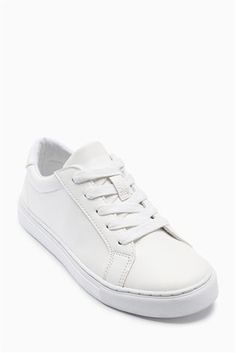 White Clean Lace-Up Shoes (Older)