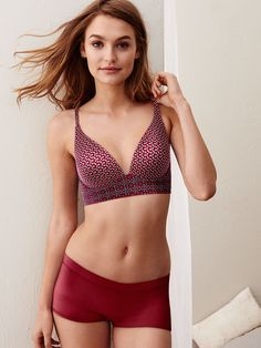 "Easy and breezy: this wire-free bra, built for maximum comfort and cut for low-cut tops. | Victoria's Secret ""Easy"" Plunge Bra"