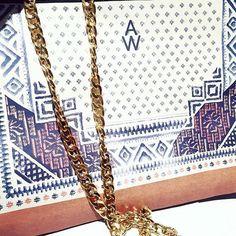 ★ i n  t h e  m a k i n g ★ New stuff for spring/summer!  #annetweelinkdesign #instabags #drawing #like4like #boho #bohemian #watercolor #watercolour #igers #instagood #iphonesia #interiør #interiordesign #photooftheday #handmade #print #bag #chain #gold #logo #ethnic #tile #crossbodybag #wip #creative #bronze #leather #metallic