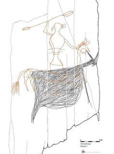Rocha 1 da Vermelhosa. Guerreiro montado a cavalo, registo da 2ª Idade do Ferro. Vale do Côa, Portugal