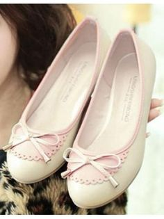 Pink Round Toe Bow Flats