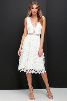 Engagement Outfit Beloved Bloom Ivory Lace Midi Dress at Lulus.com!
