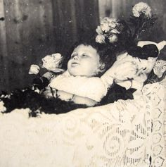 Antique French post mortem real photograph of a deceased child.