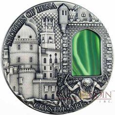 Niue Island SECRETS of PENA PALACE series CRYSTAL ART $2 silver coin Green…
