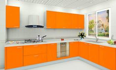 White Wall Color And Modern Orange Kitchen Cabinet For Best Kitchen Colour  Combinations 2016