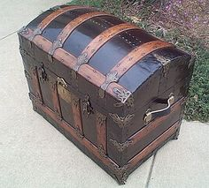 Beautiful Nautical Antique Roll Top Trunk Perfect For a Shadow Box are fit for a retirement ceremony or military promotion gift, in memory Old Trunks, Vintage Trunks, Trunks And Chests, Antique Trunks, Trunk Redo, Trunk Makeover, Antique Restoration, Antique Chest, Steamer Trunk