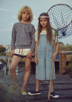 Fish and kids // fashion forward kids wear // fishing themed // oversized dungarees // sailor shorts and sweatshirt - - Young Cute Boys, Cute Kids, Poses, Kids Dungarees, Denim Fashion, Kids Fashion, Sailor Shorts, Kids Outfits, Cute Outfits