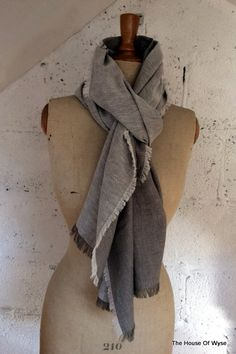 Two Tone Grey 100% Linen Reversible Scarf by TheHouseOfWyse on Etsy