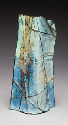 "Christine Finch - Sentinel - 9""x5""x2"" enameled fold formed copper - Enamelist Society Activities - Exhibitions"