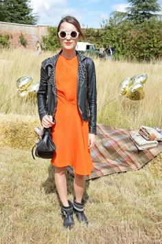 Pin for Later: 58 Flawless Ways to Style the End of Summer Summer Street Style This Summer style could ease right into Fall, thanks to a leather jacket and a perfect Autumn orange.