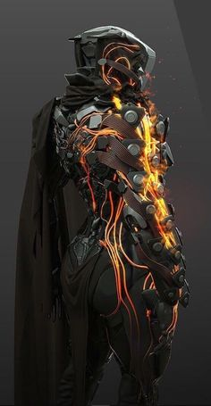 Outfitted with the ability to light cords on one side of their body on fire, allowing for flaming punches. If hit with an EMP, they are unable to light the cords. Fantasy Character Design, Character Design Inspiration, Character Art, Character Concept, Futuristic Armour, Futuristic Art, Futuristic Technology, Futuristic Helmet, Futuristic Motorcycle