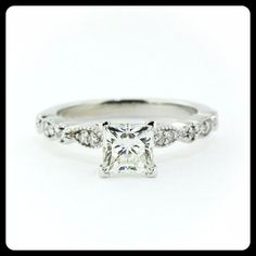 RESERVED Vintage Style Princess Cut Engagement by SerenadeDiamonds, $225.00