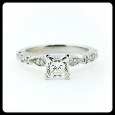 RESERVED Vintage Style Princess Cut Engagement by SerenadeDiamonds, $225.00