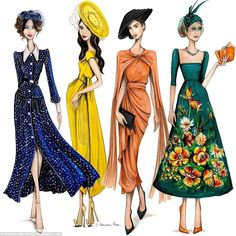 'When Hollywood and Royalty collide the fashion stakes skyrocket!,' the artist wrote. 'Here they are my top four best dressed at The Royal Wedding! '(Pictured from left: Abigail Spencer, Amal Clooney, Janina Gavankar and Lady Kitty Spencer) Fashion Illustration Sketches, Fashion Design Sketches, Illustrations, Vintage Fashion Sketches, Abigail Spencer, Royal Dresses, Nice Dresses, Royal Wedding Dresses, Royal Wedding Guests Outfits