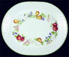 Corelle Chutney 12 Oval Serving Platter Fruit Flowers