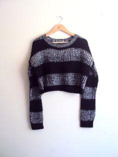 Chunky Crop Sweater Knit Boyfriend Sweater Heather Grey and Black Striped Pullover Long Sleeves Loose Sweater Women Fashion Tops Streetwear by GrahamsBazaar