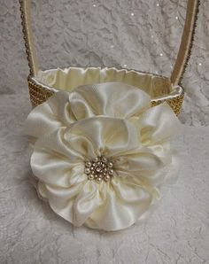 Ivory  & Gold Flower Girl Basket with by AllAHeartDesires on Etsy, $75.00