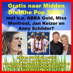 Gratis naar ABBA Gold, Miss Montreal, Jan Keizer en Anny Schilder op zaterdagavond 6 juni bij Midden Drenthe Pop in Westerbork? Doe mee via Facebook of via Twitter.  http://koopplein.nl/middendrenthe/2479714/gratis-naar-abba-gold-miss-montreal.html