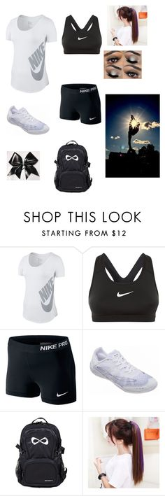 """Cheer Practice"" by mckenziestripling ❤ liked on Polyvore featuring NIKE"