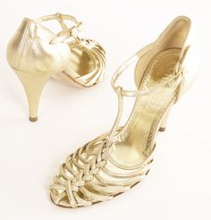 Chanel Gold Metallic Strappy Sandals with Braided T-Strap