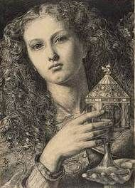 LHM Frederick Sandys King Pelles Daughter Bearing the Vessel of the Sangreal 1861