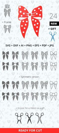 Bow Monogram SVG DXF Frame Present Decoration Monogram Svg Vinyl Cut Silhouette Studio Png Ai Svg Eps Pdf Png Jpg Silhouette Cricut