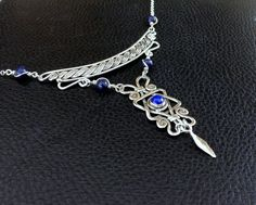 Magen David Sterling silver Lapis lazuly necklace, bib necklace, star of david, judaica statment necklace, filigree, ethnic, tribal OOAK