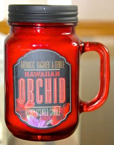 DW HOME HAWAIIAN ORCHARD CANDLE NEW 1 WICK SOY WAX RED GLASS MASSON JAR 13.19OZ #DWHOMEINC