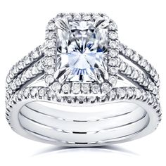Annello by Kobelli 14k White Gold Radiant Forever Brilliant Moissanite and 3/5ct TDW Diamond Double Bands Bridal Set (GH, I1-I2) #kobelli