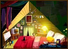 Door deze piramidale compositie van licht krijgt deze afbeelding meer diepte.