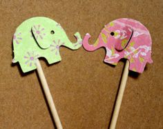 Shabby Chic Mini Elephant Cupcake Toppers or Appetizer Sticks Customized