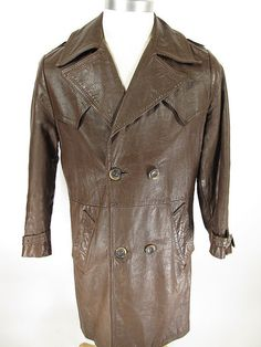 Vtg 60s Steerhide Leather Grais Double Breasted Spy Trench Coat 40 [long G08A 5LB 2OZ]