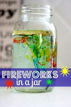 Fireworks in a Jar Science Experiment - not as big of a wow as I expected. Kids were mildly interested. Better experiments out there to teach density. As for fireworks, not so much. Kid Science, Preschool Science, Science Fair, Science Activities, Science Projects, Summer Activities, Projects For Kids, Kids Crafts, Science Ideas