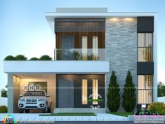 4 bedroom modern contemporary style house plan in an area of 1893 square feet by Dream Form from Kerala. Flat Roof House Designs, House Roof Design, Modern Exterior House Designs, Bungalow House Design, Dream House Exterior, Dream House Plans, Modern House Plans, Modern House Design, Modern Contemporary Homes